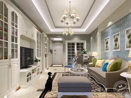 电视柜+酒柜+书柜一体设计,提高空间利用率,贯穿全空间.